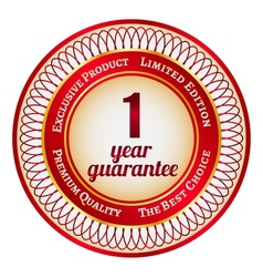 Label on 1 year guarantee vector image