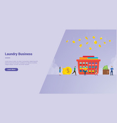 Laundry business campaign concept for website vector