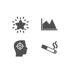 Line chart recruitment and rank star icons vector