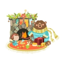 Little angel cute bear sitting near a fireplace vector image