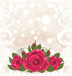 Luxury card with bouquet of pink roses vector image