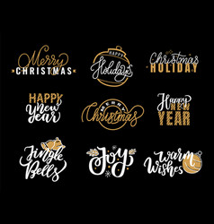 merry christmas happy holidays jingle bell and joy vector image