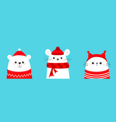 merry christmas polar white bear cub mouse cat vector image