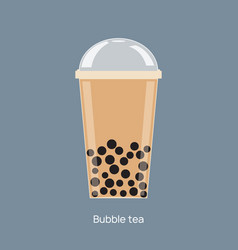 milk bubble tea drink tapioca cup boba vector image