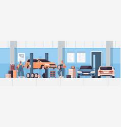 Mix race mechanics working and fixing vehicle car vector