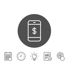 mobile shopping line icon online buying vector image