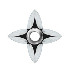 Modern silver metallic shuriken or star ninja vector