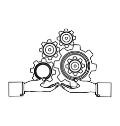 Monochrome silhouette with hands hold gear wheels vector