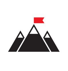 mountain - black icon on white background vector image
