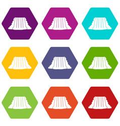 Niagara falls icon set color hexahedron vector