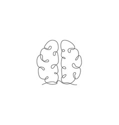 one single line drawing human brain vector image