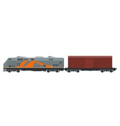 Orange locomotive with closed wagon isolated vector