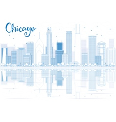 Outline Chicago skyline with blue buildings vector