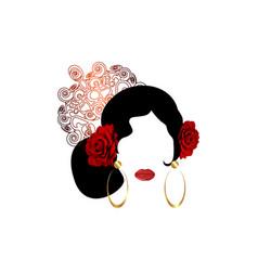 Portrait flamenco woman beautiful spanish girl vector