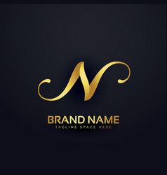 Premium letter n logo design template with swirl vector
