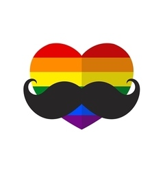 Rainbow flat heart with mustache vector