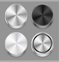 realistic circular 3d brushed metal icons set vector image