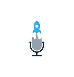 rocket podcast logo icon design vector image