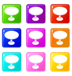 Round table icons set 9 color collection vector