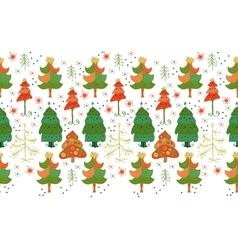 Seamless border of christmas tree vector