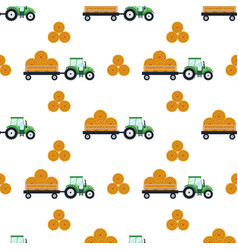 Seamless pattern flat green tractor with a cart vector