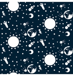 Seamless pattern with planets and stars in space vector