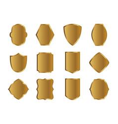 Set golden shields eps outline vector