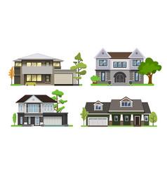 Set house flat design style vector
