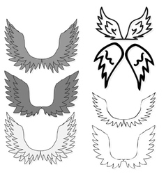 Set of bird wings for heraldry design isolated on vector