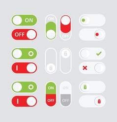 Set of colorful toggle switch icons flat icon vector