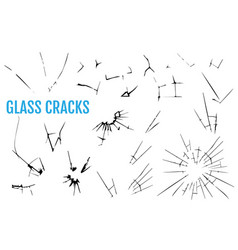 set of glass crack set to simulate cracks and vector image