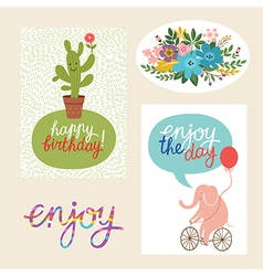 Set of happy birthday design cards and graphic ele vector