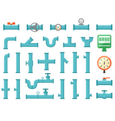 set of plumbing equipment with pipes vector image