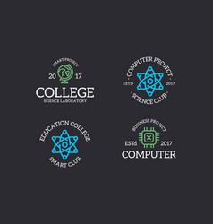 set of retro vintage chip atom molecule lab vector image
