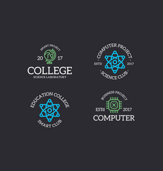 set retro vintage chip atom molecule lab vector image