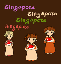 Set singapore icons vector