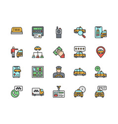 set taxi flat color line icons truck map vector image