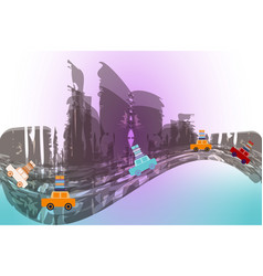 several moving cars on an abstract city background vector image