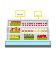 shelves with products in grocery store vector image