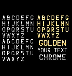 Silver and golden letters alphabet vector