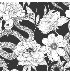 Snakes and flowers seamless pattern vector image