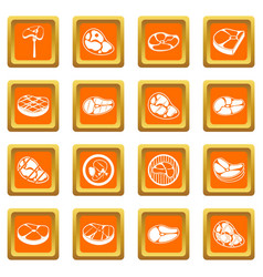 Steak icons set orange vector