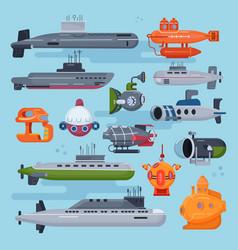 Submarine sea pigboat or marine sailboat vector