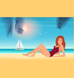summer girl in bikini beautiful young woman in vector image