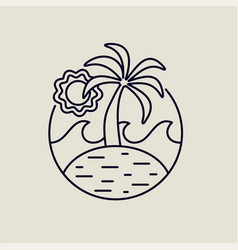 summer island line art icon with tropical beach vector image