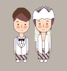 Sunda west java province wedding couple cute vector