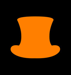 top hat sign orange icon on black background old vector image