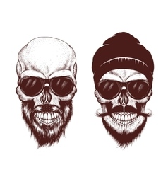Two modern skull with sunglasses vector image