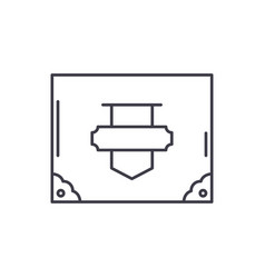 vintage suitcase line icon concept vintage vector image