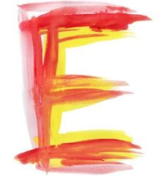 Watercolor Font LETTER E vector image